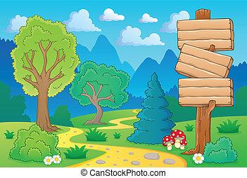 thème, 2, paysage arbre