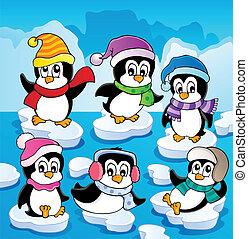 thème, 2, pingouins, hiver