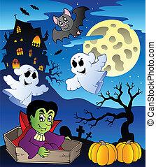 thème, 2, scène halloween