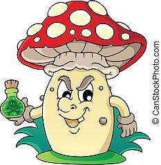 thème, 5, image, champignon