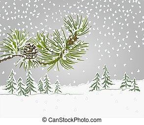 thème, branche, neige, noël, vecteur, pin