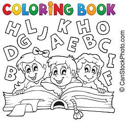 thème, coloration, 5, livre, gosses