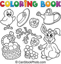 thème, coloration, paques, livre, 6