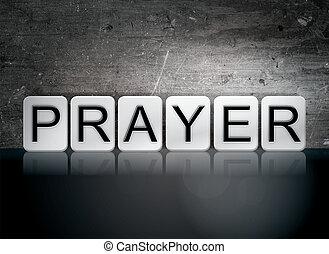 thème, concept, lettres, carrelé, prière