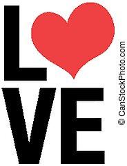 thème, conception, amour, valentin, mot