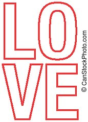 thème, conception, police, amour, valentin, mot