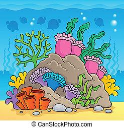 thème, corail, 2, image, récif