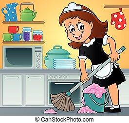 thème, dame, nettoyage, image, 3