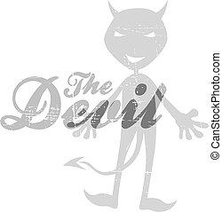 thème, diable, silhouette, mal
