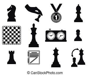 thème, ensemble, échecs, icônes