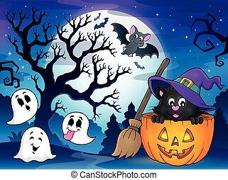 thème, halloween, chat