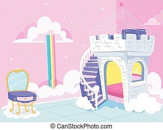 thème, illustration, princesse, gosses, chambre à coucher, fantasme