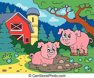 thème, image, 7, cochon