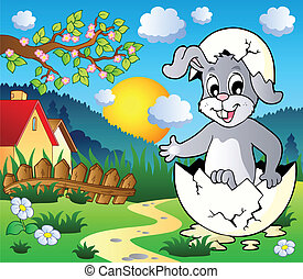 thème, lapin pâques, image, 3