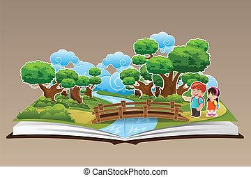 thème, livre, haut, pop, forêt