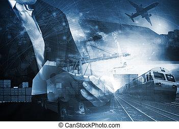 thème, logistique, bateau, transport, industries, trains, fond, exportation, fret, mondiale, air, importation, camion, usage, cargaison, commerce, tout