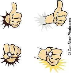 thème, main, dessin animé, geste, signe