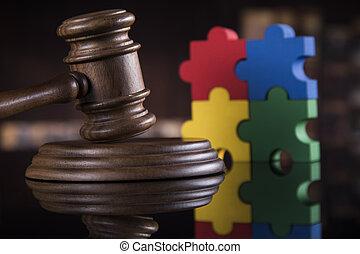 thème, marteau, juge, maillet, palais justice, puzzle