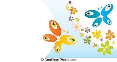thème, papillons