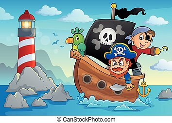 thème, pirate, bateau, 3