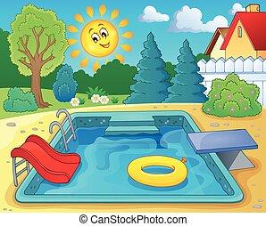 thème, piscine