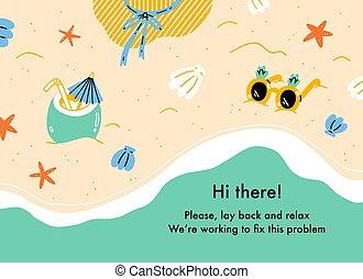 thème, plage, toile, fond, été, page, erreur, vacances