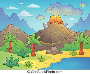 thème, préhistorique, paysage
