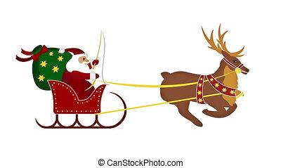 thème, reinde, -, santa, noël