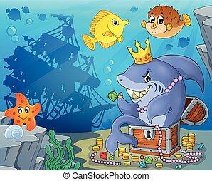 thème, requin, trésor, image, 3