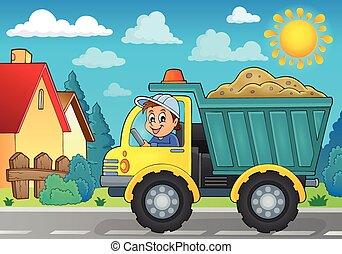 thème, sable, image, camion, 3