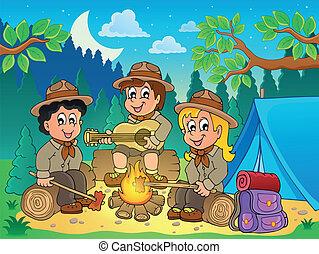 thème, scouts, 4, image, enfants