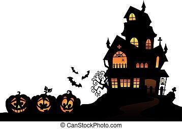 thème, silhouette, maison, hanté