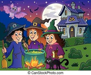 thème, trois, sorcières