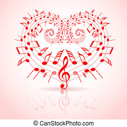 thème, valentines, musique, jour