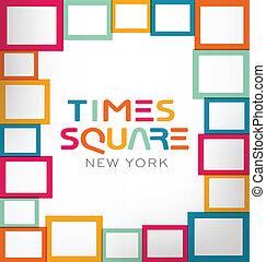 thème, vecteur, carrée, temps