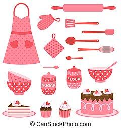 thème, vecteur, cuisson, collection, icônes