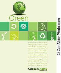 thème, vert, page