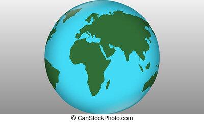 thème, voyage, intro, mondiale, annonce, fond, tourner, gradient, nouvelles, gris, vert, ambiant, stylisé, élément, symbole, science terre, naturel, continents, bleu, voyager