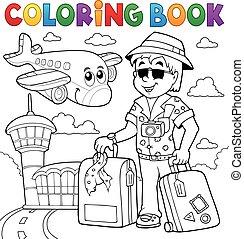 thèmes, coloration, 2, voyage, livre