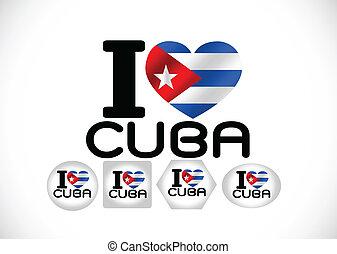 thèmes, drapeau, conception, idée, cuba
