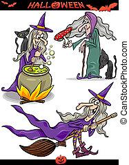 thèmes, spooky, ensemble, halloween, dessin animé