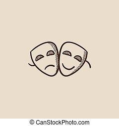 théâtral, croquis, icon., masques, deux