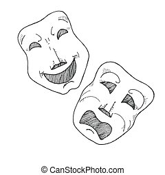 théâtral, croquis, tragédie, comedy., masks.