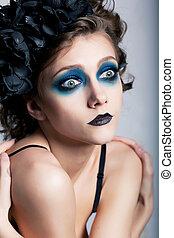 théâtral, style, -, actrice, femme, à, bleu, maquillage