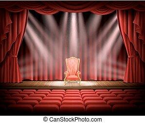 théâtral, vendange, rideau, chaise, rouges, étape