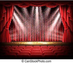 théâtral, vide, scène, rideau rouge