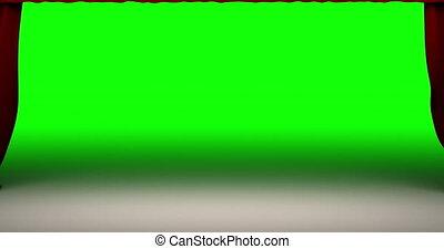 théâtre, 1080, qualité, écran, élevé, arrière-plan., animation, vert, 4k, included., rideau, fermer, perfectly, résolution, rouges, mouvement