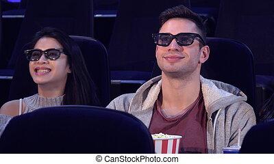 théâtre, asseoir, film, filles, deux, entre, type