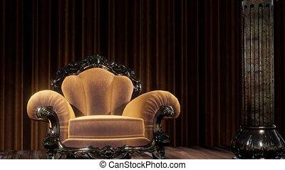 théâtre, chaise, luxueux, rideau étape