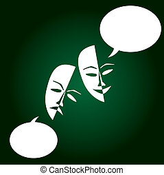 théâtre, chanceux, masques, triste, sombre, background-, illustration